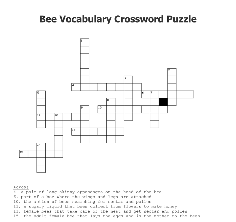 Bee Crossword Puzzle