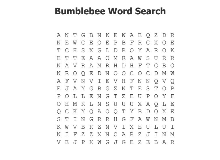 Bumblebee Word Search